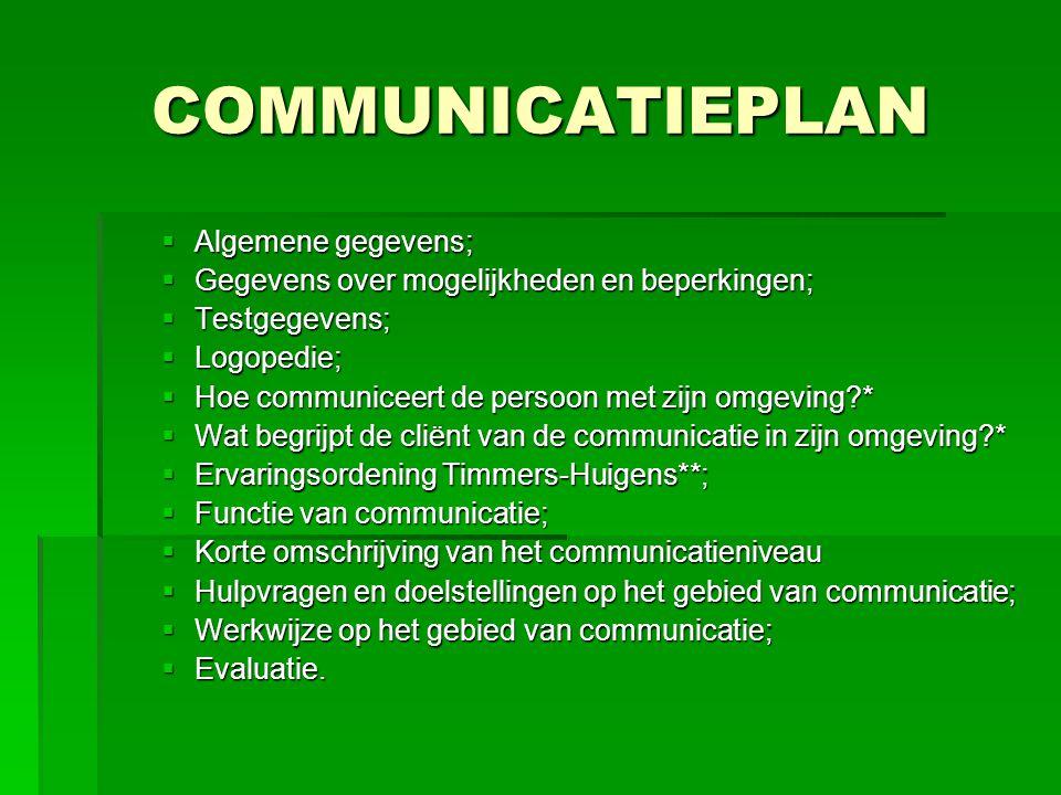 COMMUNICATIEPLAN Algemene gegevens;
