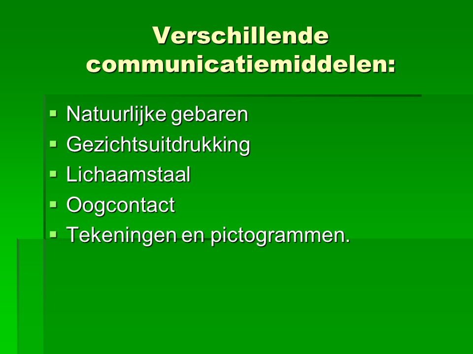 Verschillende communicatiemiddelen: