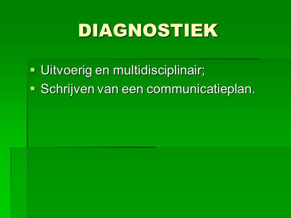 DIAGNOSTIEK Uitvoerig en multidisciplinair;