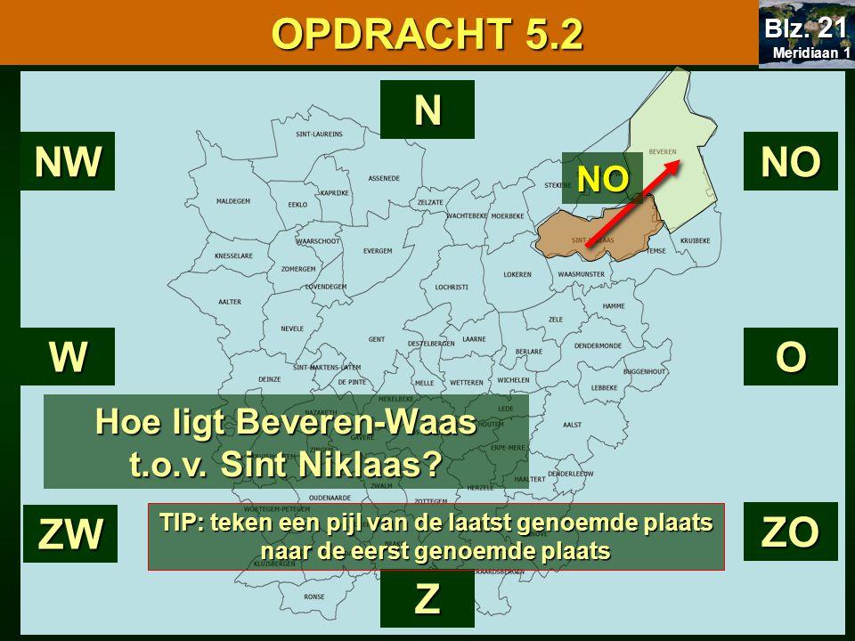 Hoe ligt Beveren-Waas t.o.v. Sint Niklaas