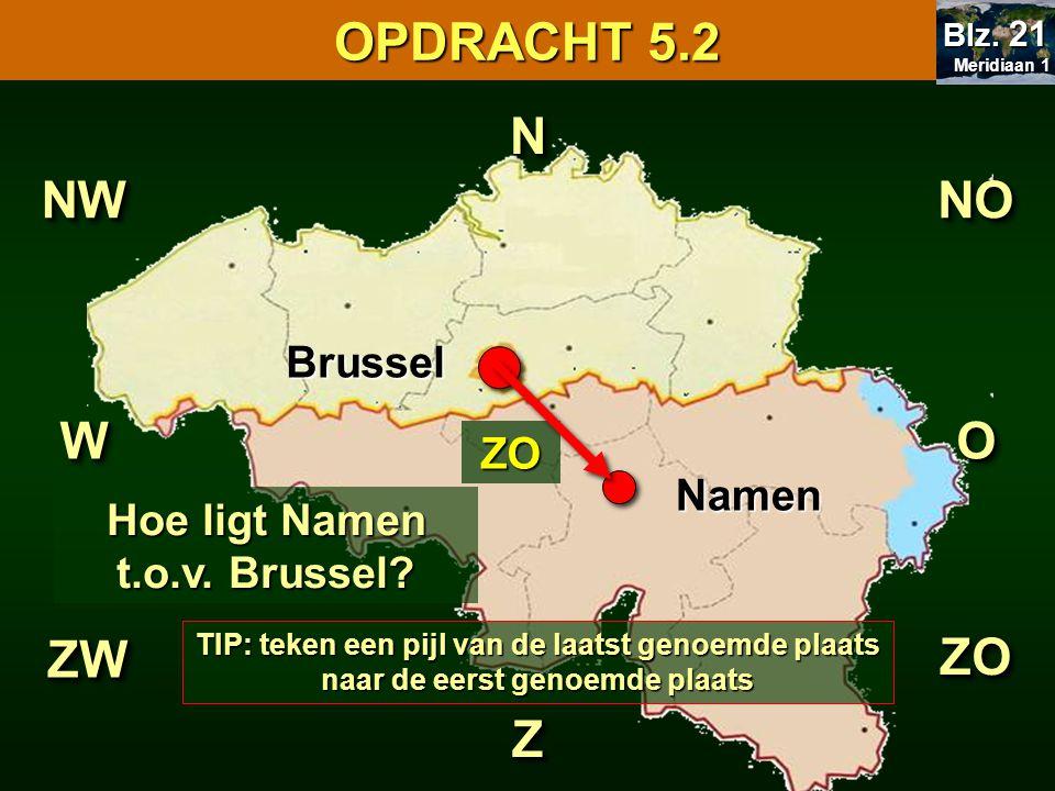 Hoe ligt Namen t.o.v. Brussel