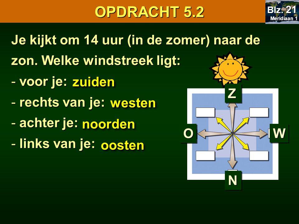 OPDRACHT 5.2 Meridiaan 1. Blz. 21. Je kijkt om 14 uur (in de zomer) naar de zon. Welke windstreek ligt: