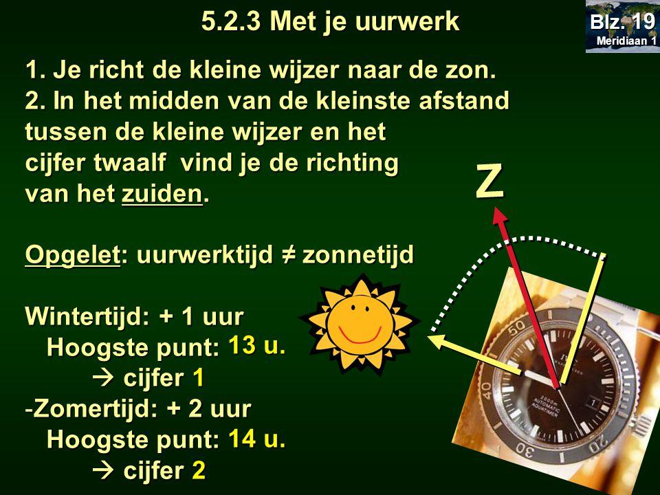 Z 5.2.3 Met je uurwerk 1. Je richt de kleine wijzer naar de zon.
