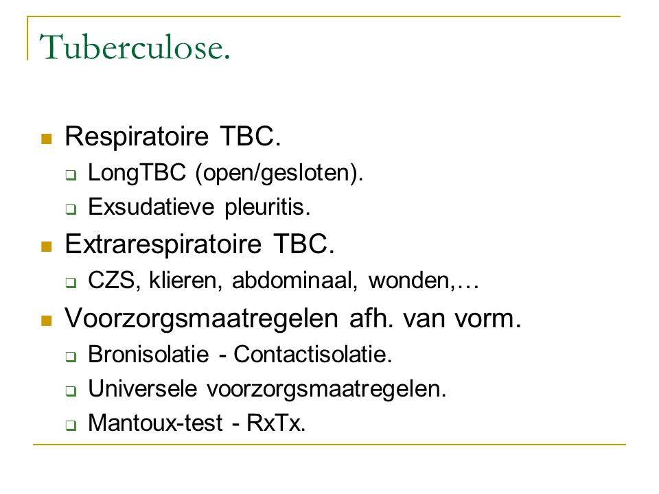 Tuberculose. Respiratoire TBC. Extrarespiratoire TBC.