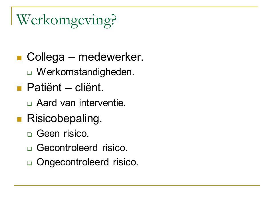 Werkomgeving Collega – medewerker. Patiënt – cliënt. Risicobepaling.