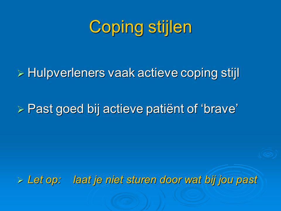Coping stijlen Hulpverleners vaak actieve coping stijl