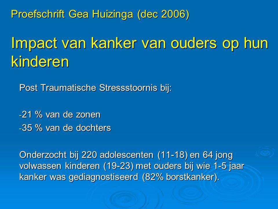 Proefschrift Gea Huizinga (dec 2006) Impact van kanker van ouders op hun kinderen