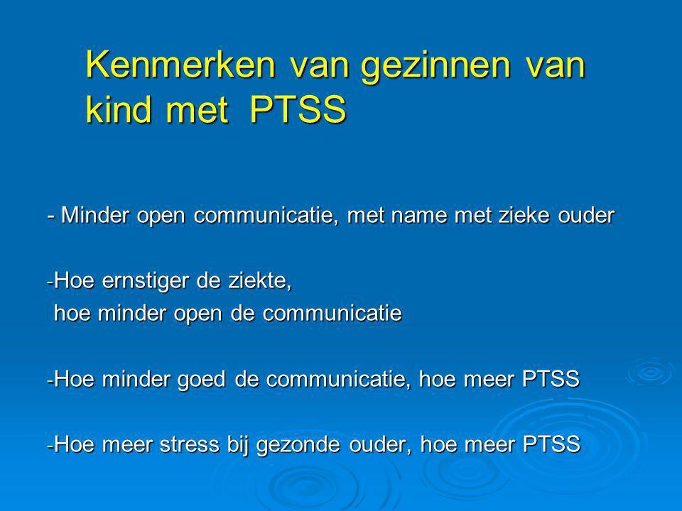 Kenmerken van gezinnen van kind met PTSS