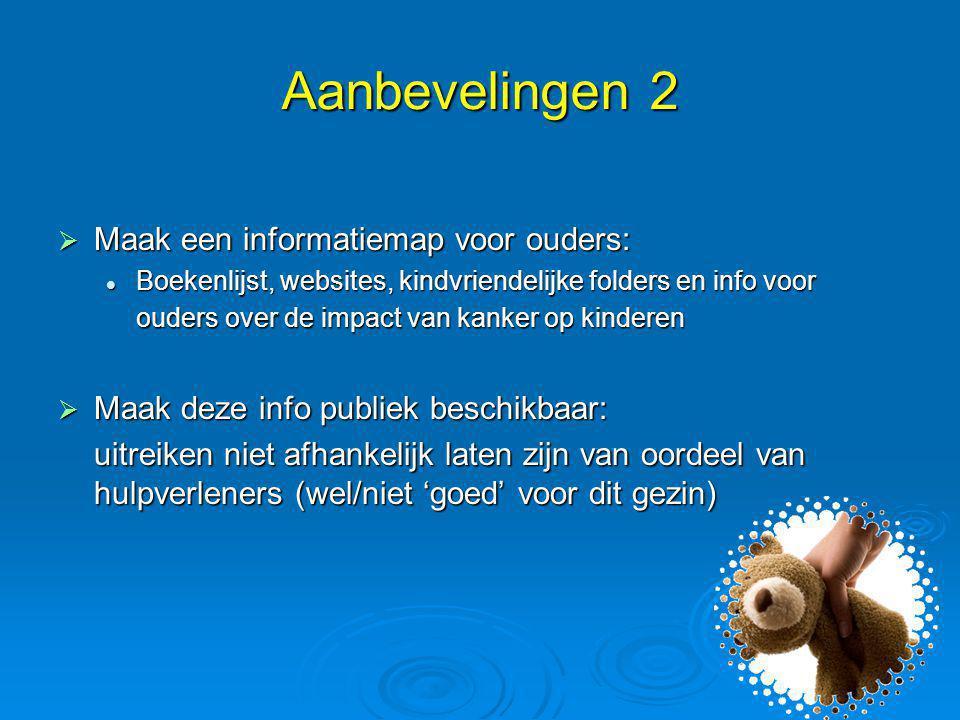 Aanbevelingen 2 Maak een informatiemap voor ouders: