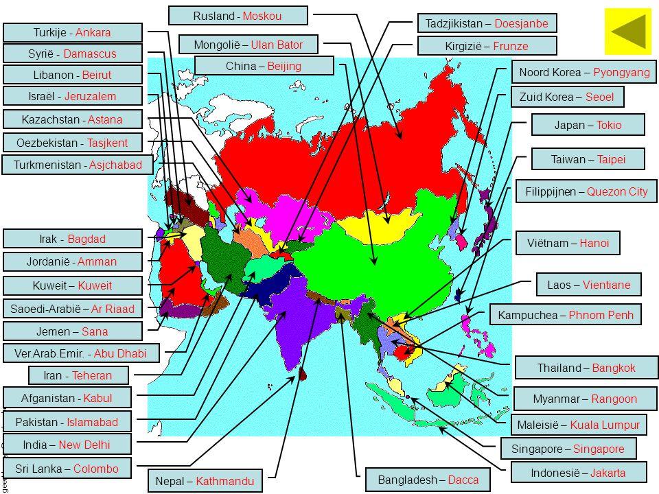Tadzjikistan – Doesjanbe Turkije - Ankara Mongolië – Ulan Bator