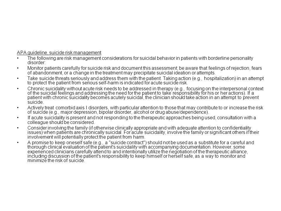 APA guideline, suicide risk management
