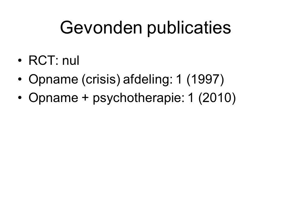 Gevonden publicaties RCT: nul Opname (crisis) afdeling: 1 (1997)