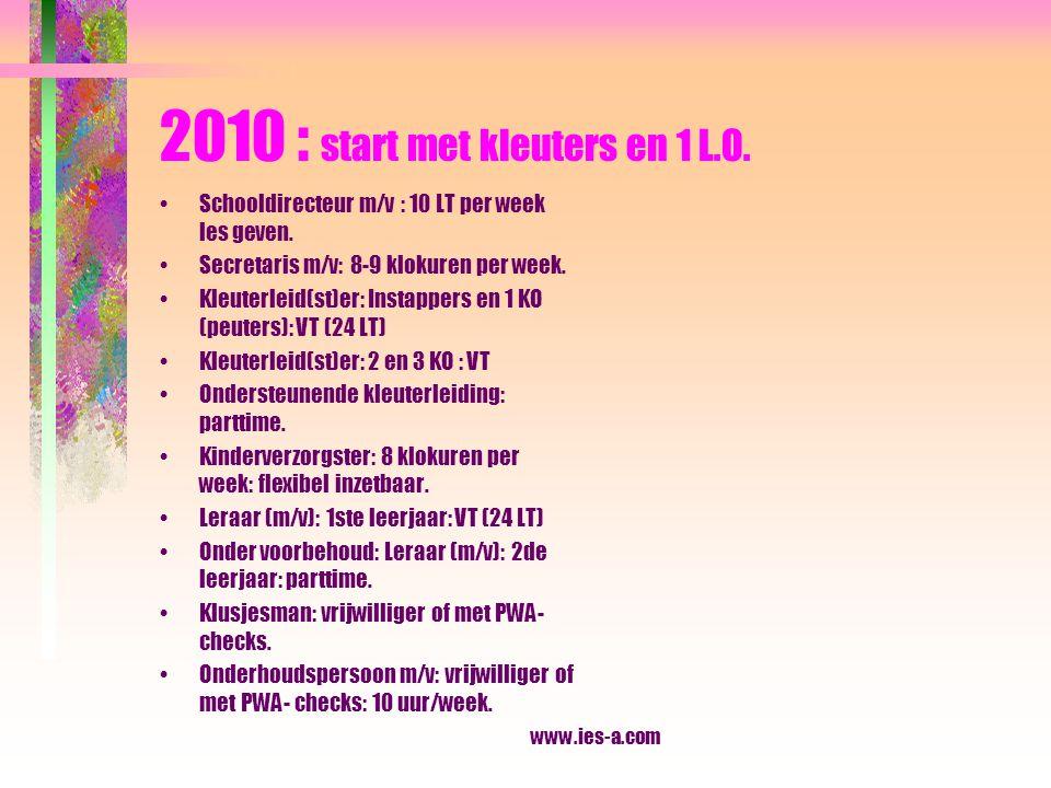 2010 : start met kleuters en 1 L.O.