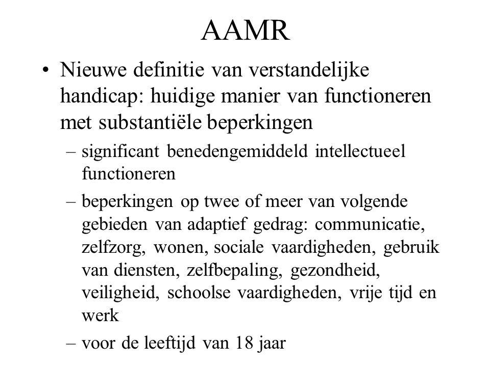 AAMR Nieuwe definitie van verstandelijke handicap: huidige manier van functioneren met substantiële beperkingen.