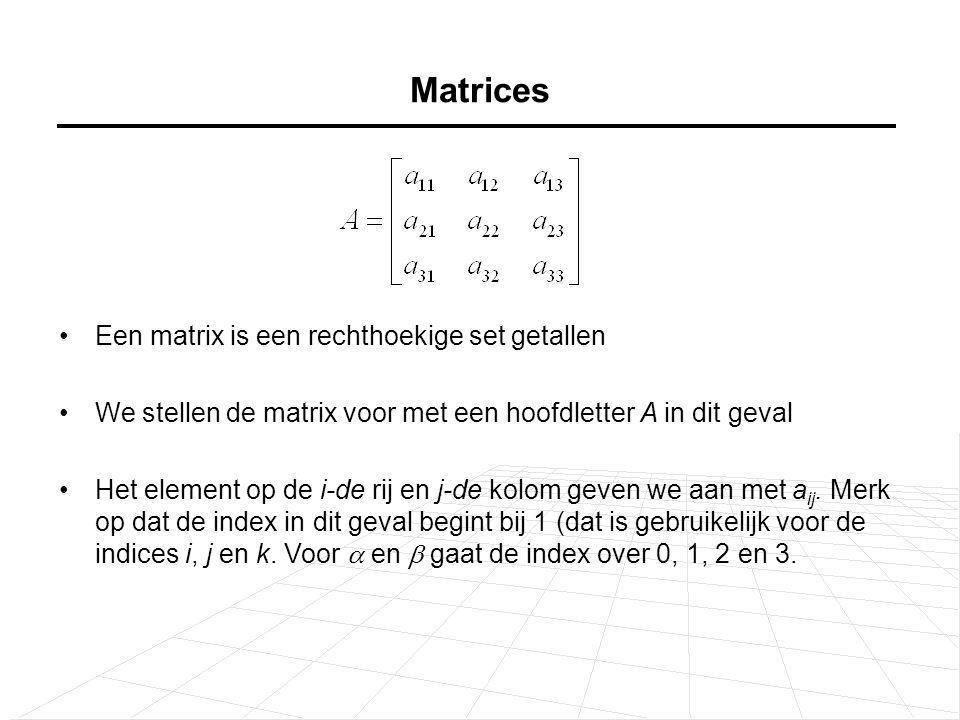 Matrices Een matrix is een rechthoekige set getallen