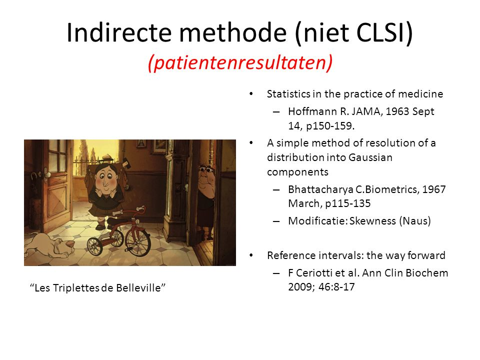 Indirecte methode (niet CLSI) (patientenresultaten)