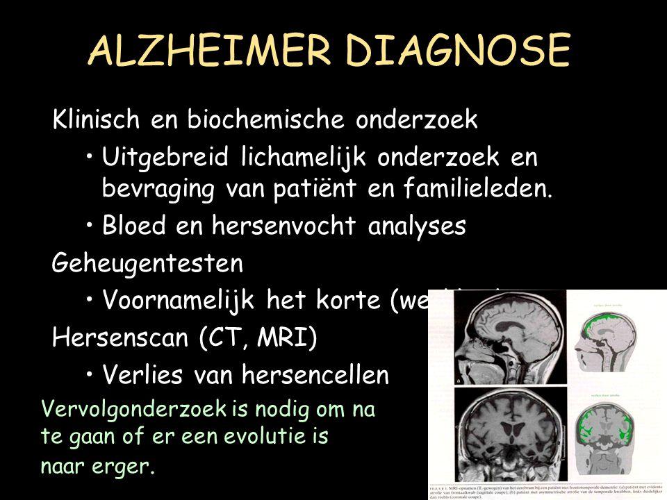 ALZHEIMER DIAGNOSE Klinisch en biochemische onderzoek
