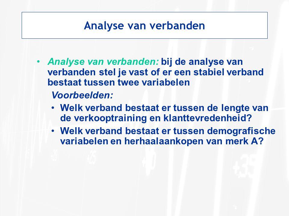 Analyse van verbanden Analyse van verbanden: bij de analyse van verbanden stel je vast of er een stabiel verband bestaat tussen twee variabelen.