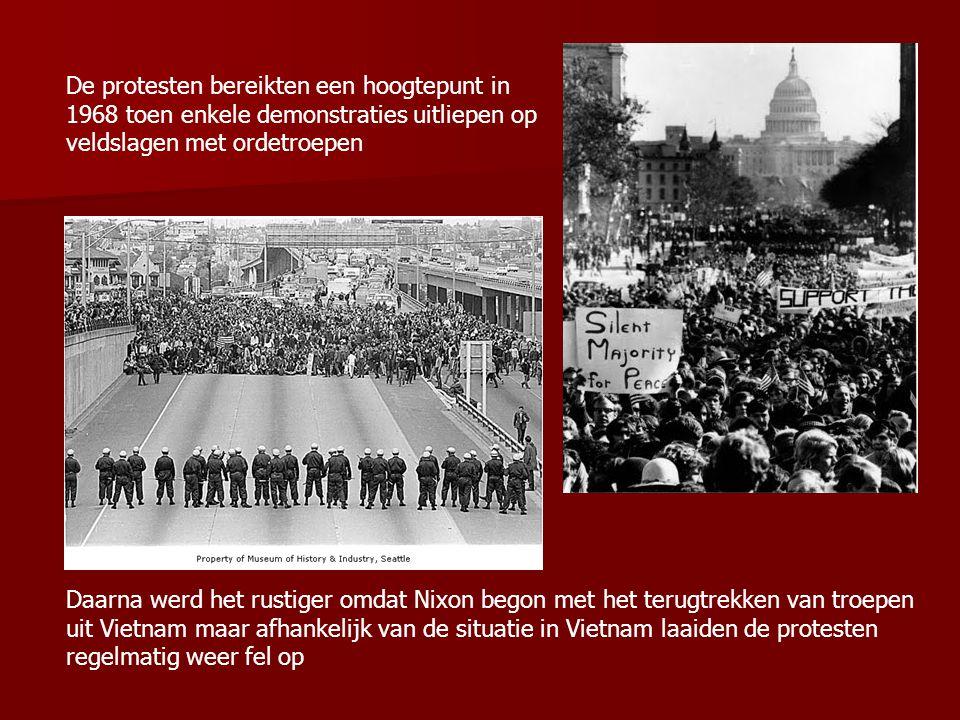 De protesten bereikten een hoogtepunt in 1968 toen enkele demonstraties uitliepen op veldslagen met ordetroepen