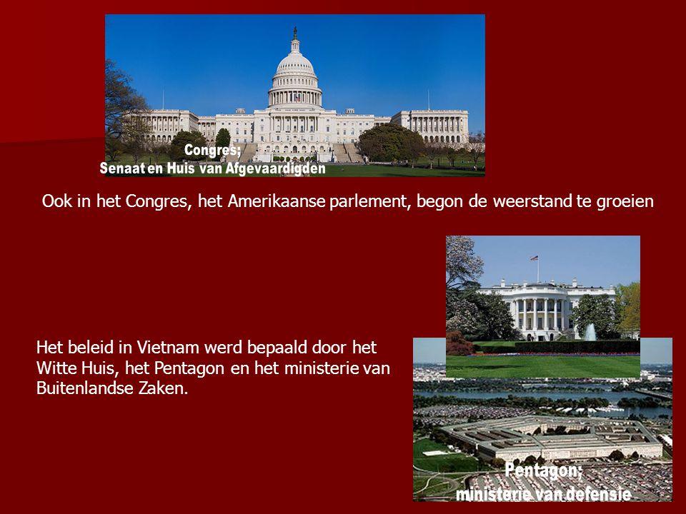 Congres; Senaat en Huis van Afgevaardigden. Ook in het Congres, het Amerikaanse parlement, begon de weerstand te groeien.