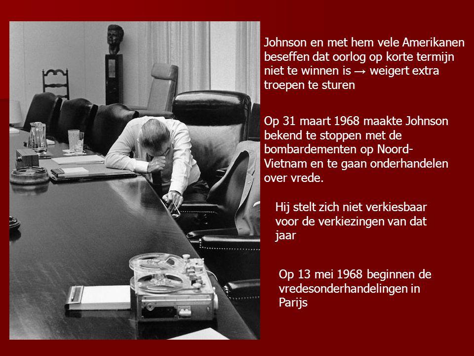 Johnson en met hem vele Amerikanen beseffen dat oorlog op korte termijn niet te winnen is → weigert extra troepen te sturen