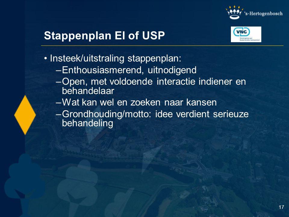 Stappenplan EI of USP Insteek/uitstraling stappenplan: