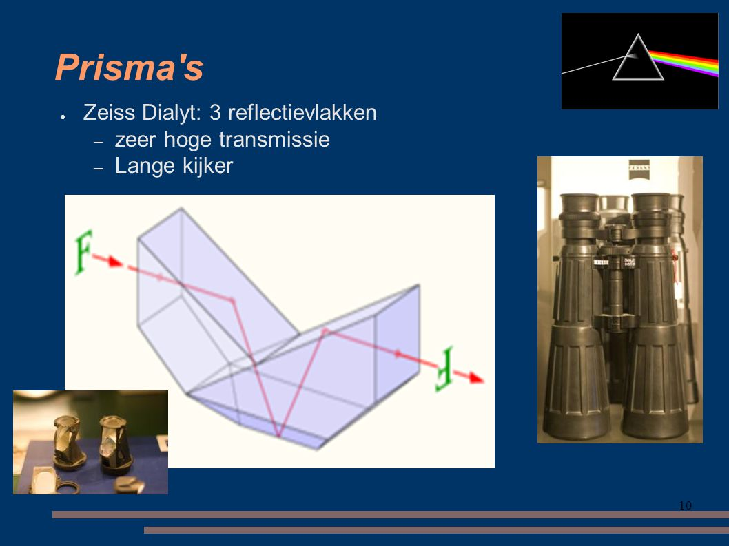 Prisma s Zeiss Dialyt: 3 reflectievlakken zeer hoge transmissie