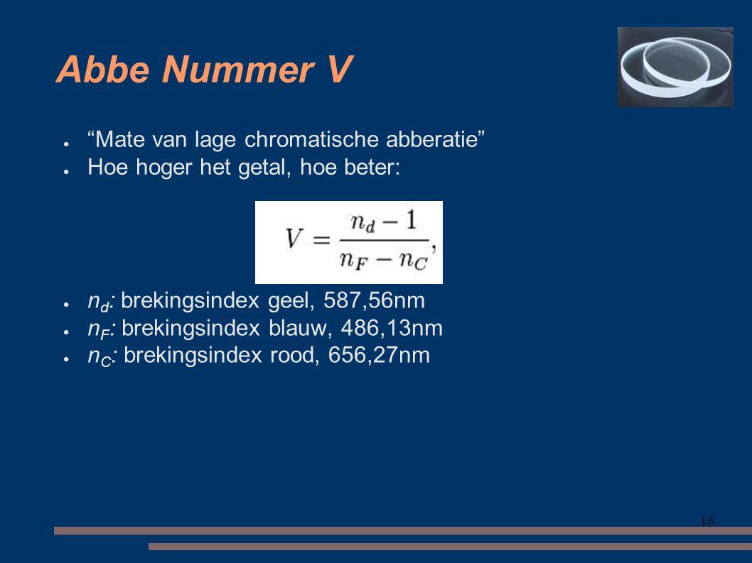 Abbe Nummer V Mate van lage chromatische abberatie