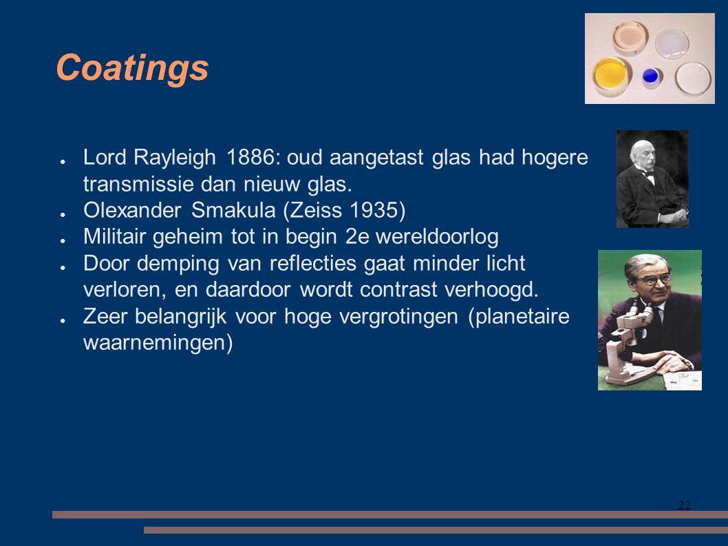 Coatings Lord Rayleigh 1886: oud aangetast glas had hogere transmissie dan nieuw glas. Olexander Smakula (Zeiss 1935)