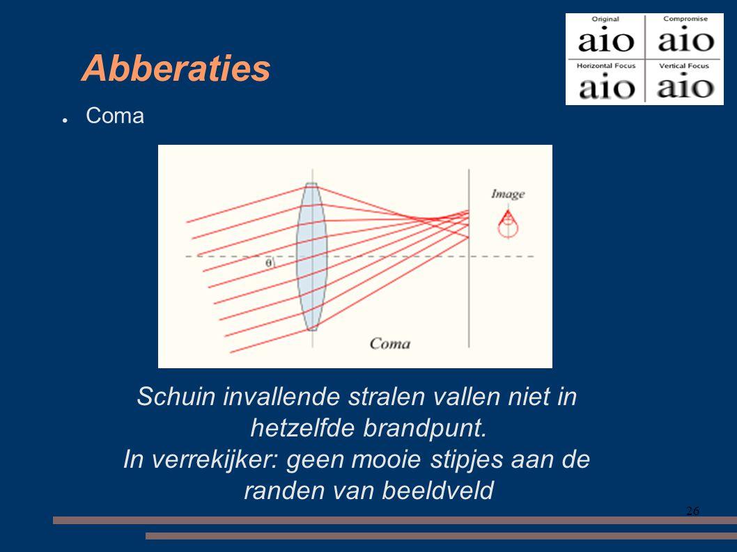 Abberaties Coma. Schuin invallende stralen vallen niet in hetzelfde brandpunt. In verrekijker: geen mooie stipjes aan de randen van beeldveld.