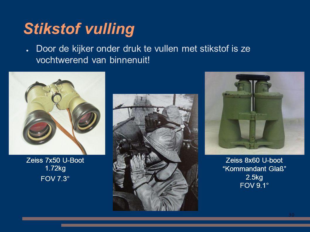Stikstof vulling Door de kijker onder druk te vullen met stikstof is ze vochtwerend van binnenuit! Zeiss 7x50 U-Boot.