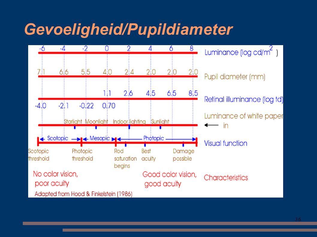 Gevoeligheid/Pupildiameter