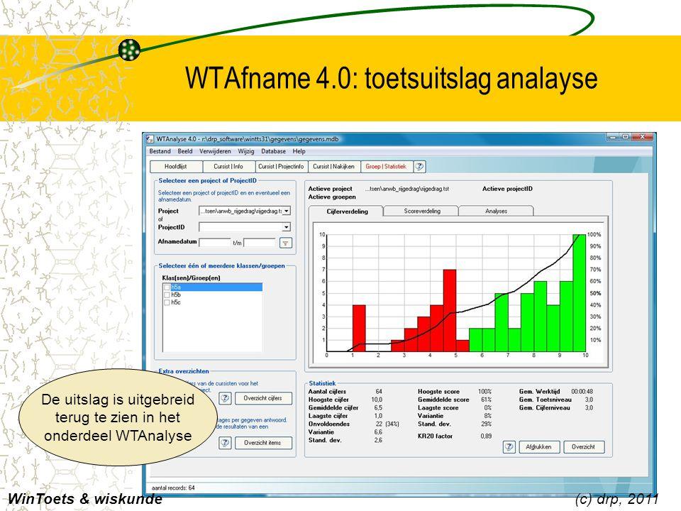 WTAfname 4.0: toetsuitslag analayse