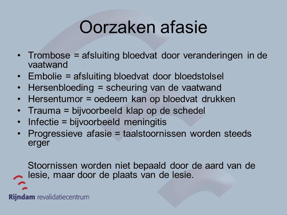 Oorzaken afasie Trombose = afsluiting bloedvat door veranderingen in de vaatwand. Embolie = afsluiting bloedvat door bloedstolsel.