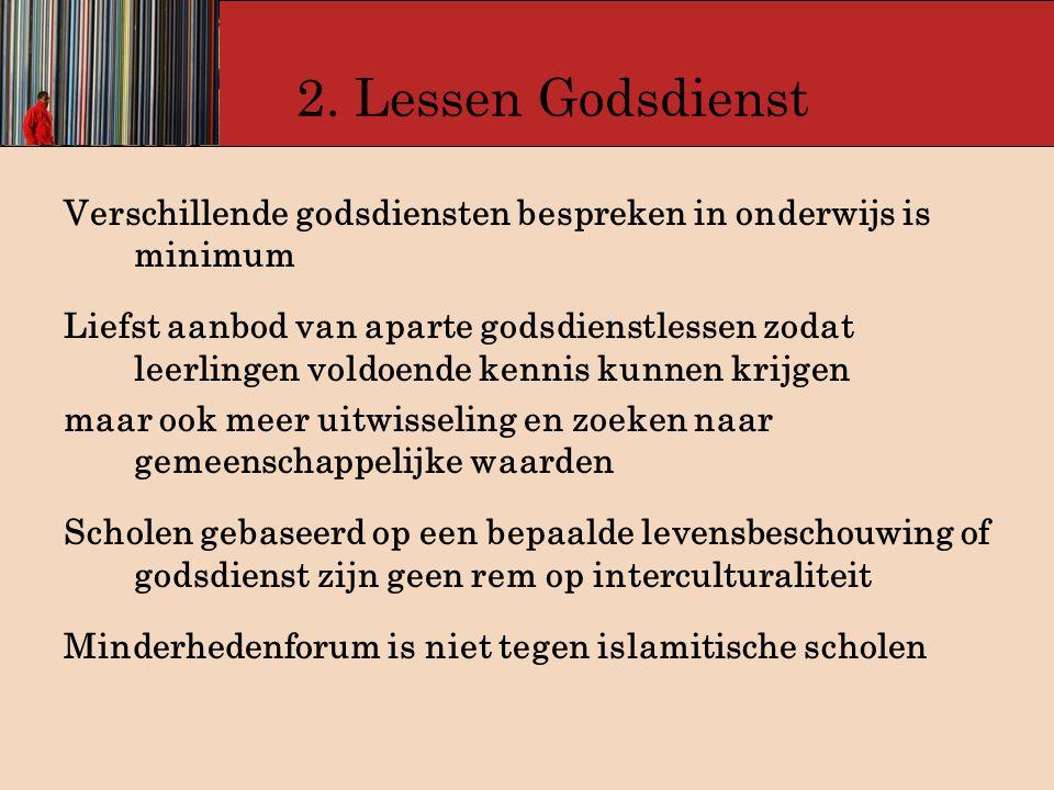 2. Lessen Godsdienst Verschillende godsdiensten bespreken in onderwijs is minimum.