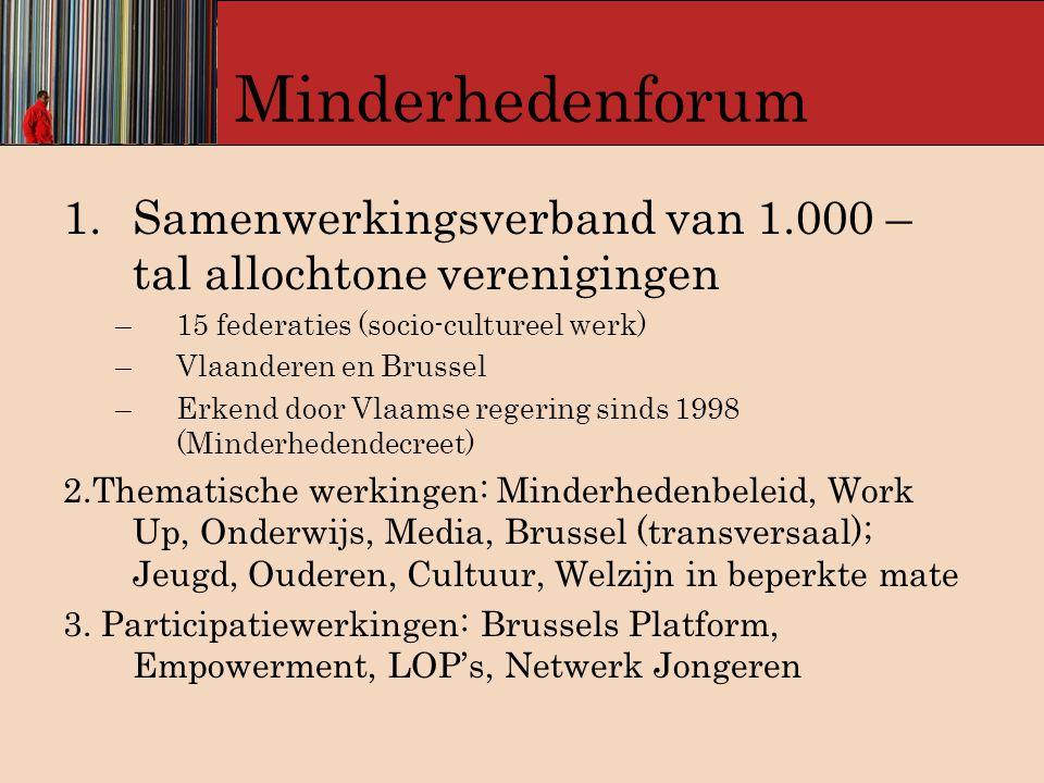 Minderhedenforum Samenwerkingsverband van 1.000 – tal allochtone verenigingen. 15 federaties (socio-cultureel werk)