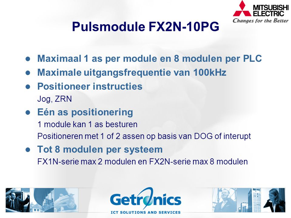 Pulsmodule FX2N-10PG Maximaal 1 as per module en 8 modulen per PLC