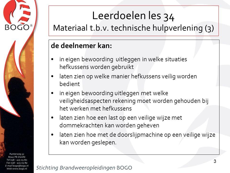 Leerdoelen les 34 Materiaal t.b.v. technische hulpverlening (3)