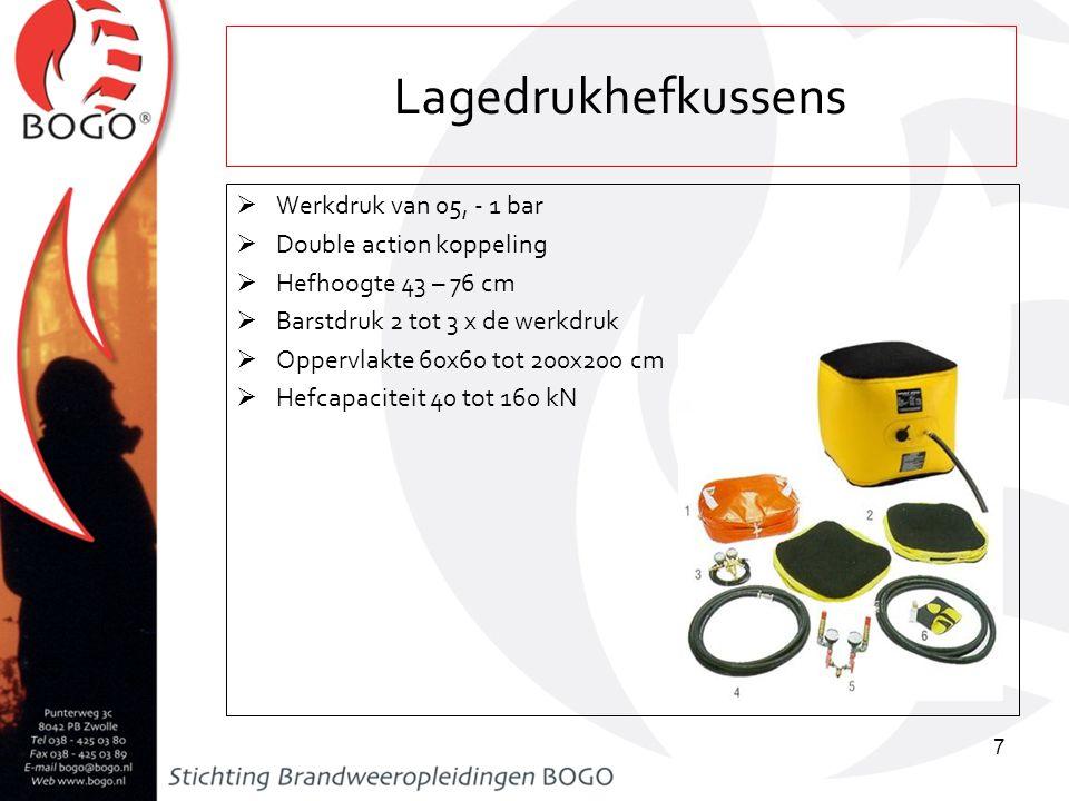 Lagedrukhefkussens Werkdruk van 05, - 1 bar Double action koppeling
