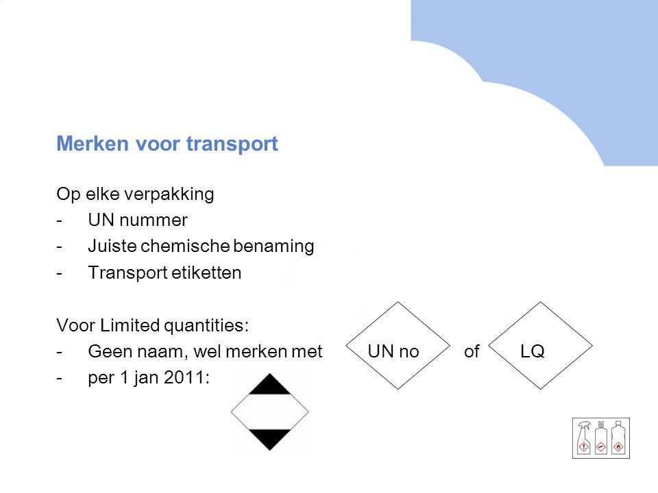 Merken voor transport Op elke verpakking UN nummer