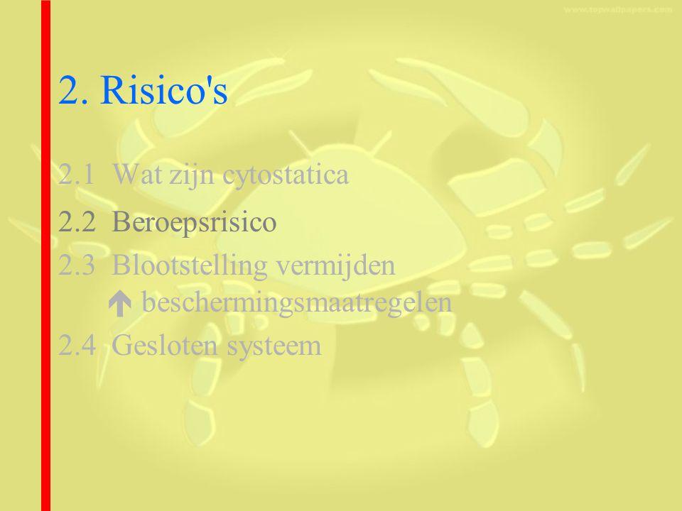 2. Risico s 2.1 Wat zijn cytostatica 2.2 Beroepsrisico
