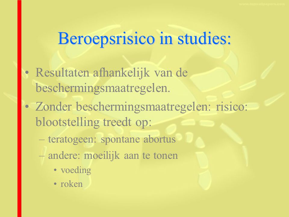 Beroepsrisico in studies: