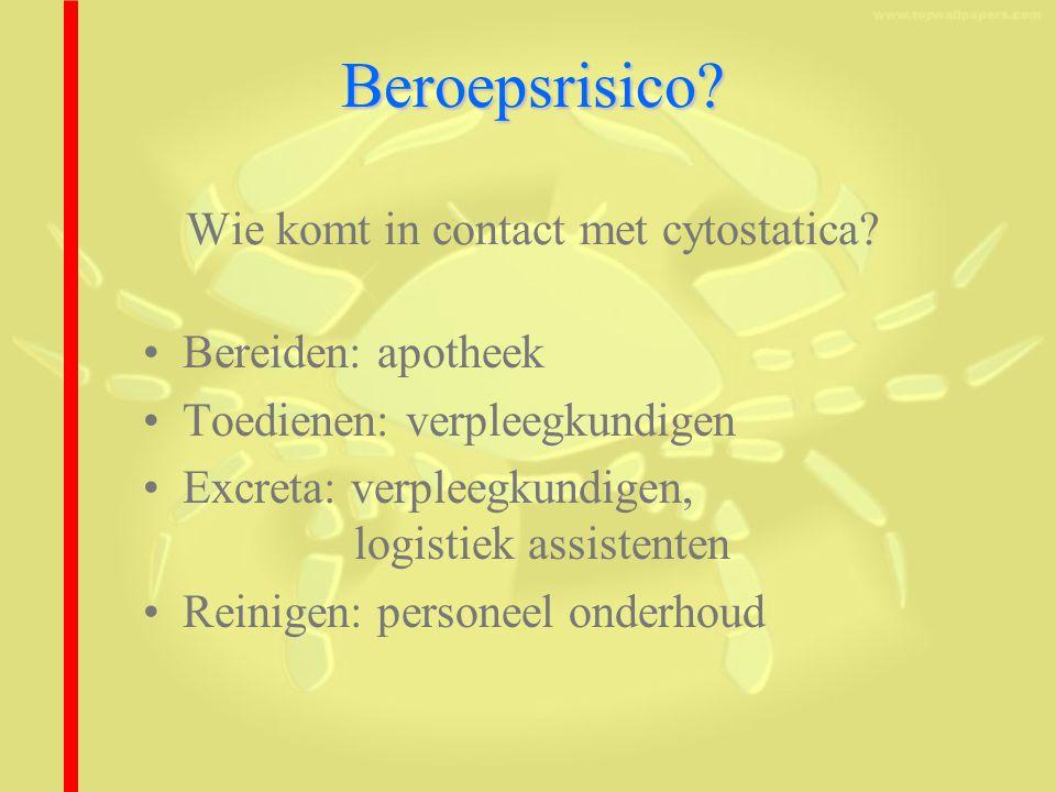 Beroepsrisico Wie komt in contact met cytostatica