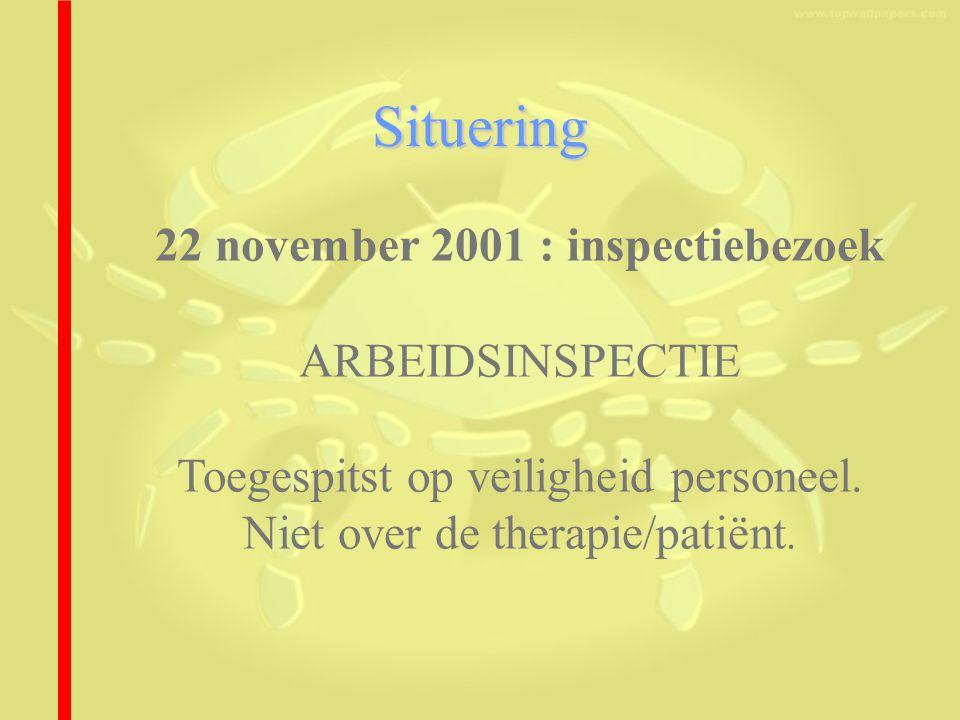 Situering 22 november 2001 : inspectiebezoek ARBEIDSINSPECTIE Toegespitst op veiligheid personeel. Niet over de therapie/patiënt.
