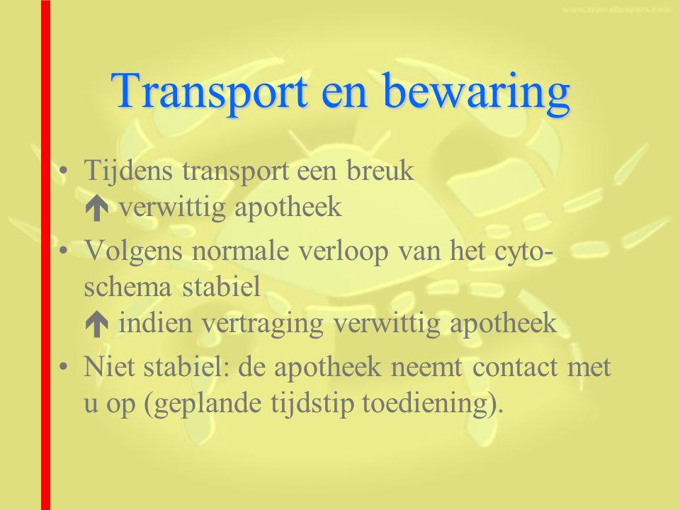Transport en bewaring Tijdens transport een breuk  verwittig apotheek