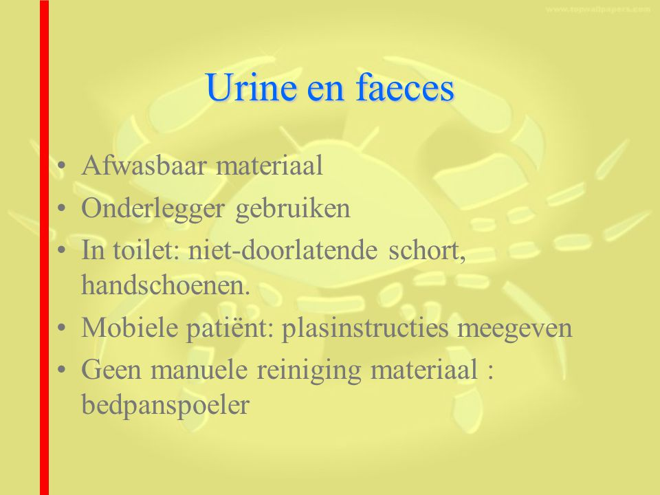 Urine en faeces Afwasbaar materiaal Onderlegger gebruiken