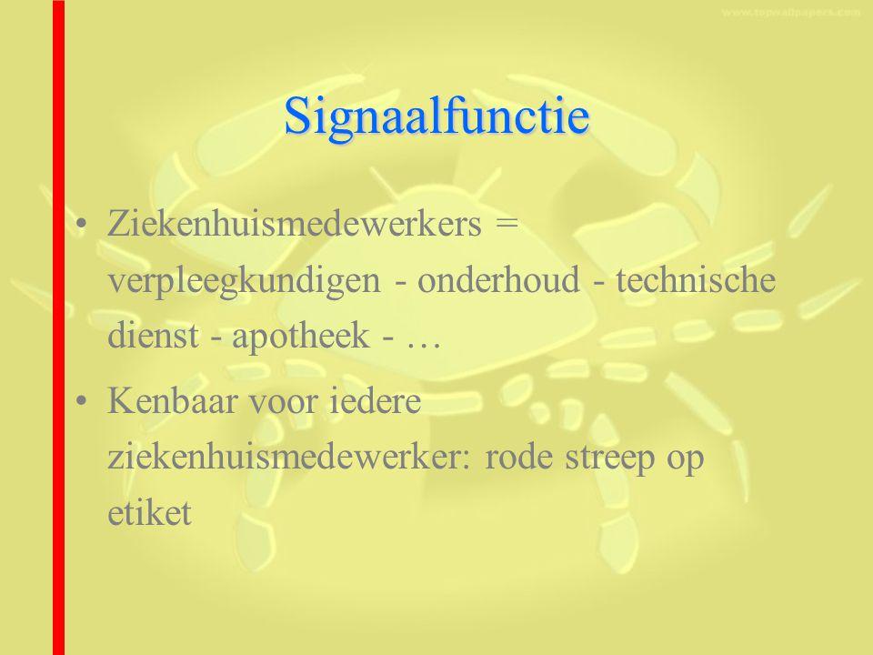Signaalfunctie Ziekenhuismedewerkers = verpleegkundigen - onderhoud - technische dienst - apotheek - …
