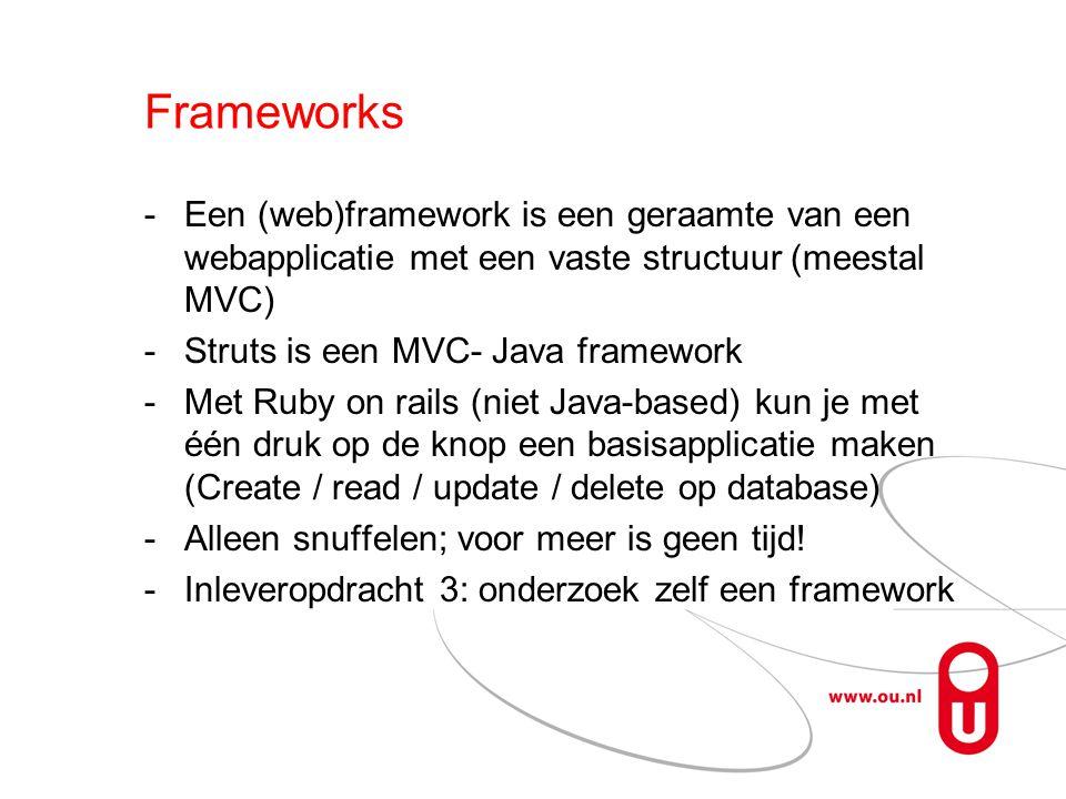 Frameworks Een (web)framework is een geraamte van een webapplicatie met een vaste structuur (meestal MVC)