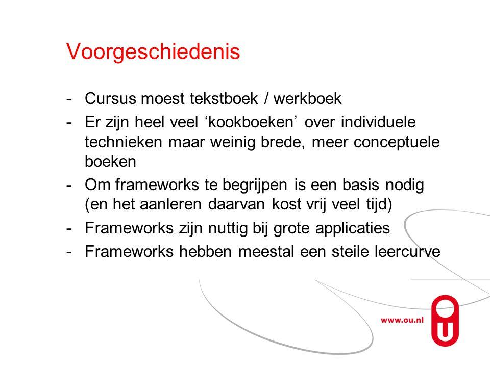Voorgeschiedenis Cursus moest tekstboek / werkboek