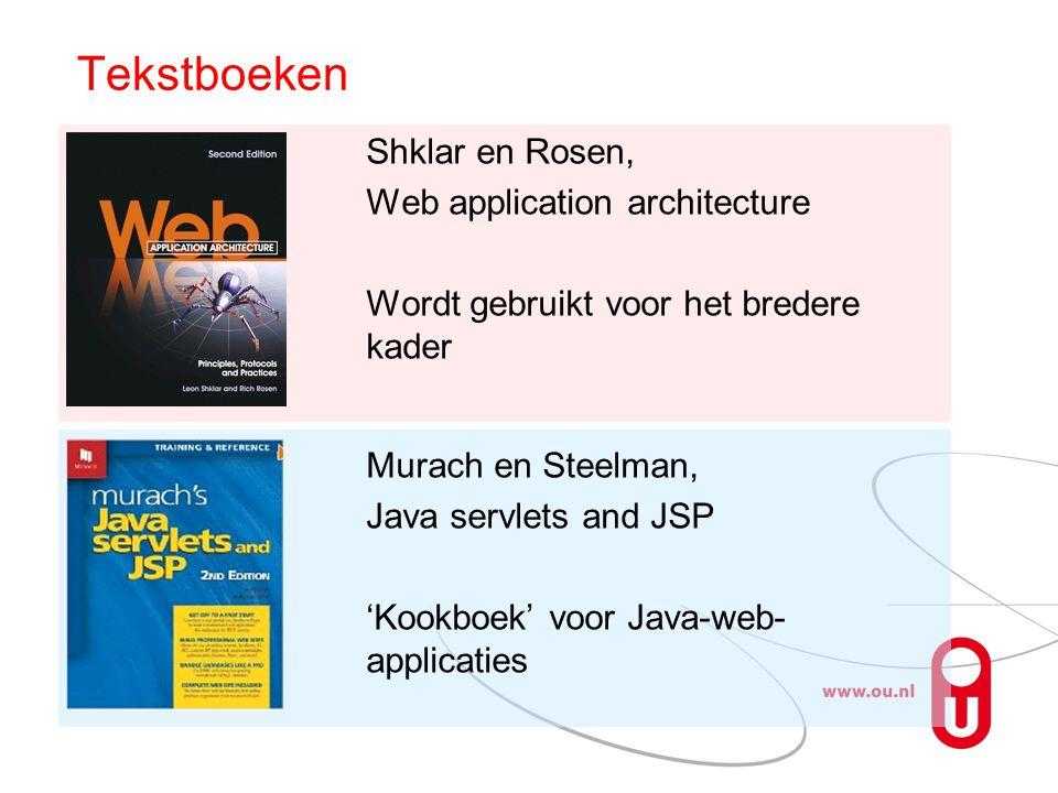 Tekstboeken Shklar en Rosen, Web application architecture Wordt gebruikt voor het bredere kader Murach en Steelman,